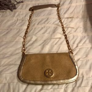 Gold Tory Burch Crossbody Bag with Gold Chain